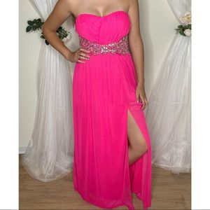 Pink Stoned Strapless Prom Pageant Gown